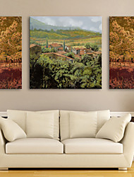 E-HOME® Stretched Canvas Art Woods And Small Villages Decorative Painting Set of 3