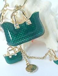 Charming High-heel Handbag Key Chain With  Clear Rhinestone Crystals