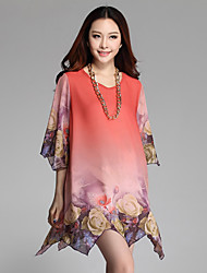 Women's Sexy Casual Inelastic  Length Sleeve Asymmetrical Dress (Chiffon Cotton Polyester)