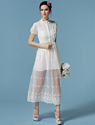 Women's Vintage/Print/Party/Maxi Micro-elastic Slim Short Sleeve Maxi Dress (Chiffon /Lace)