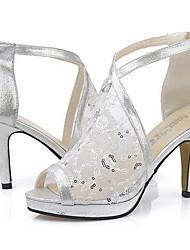 Sandales ( PU , Noir/Or/Argent ) Talon aiguille - 6-9cm pour Chaussures femme