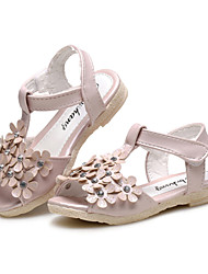 Girl's Sandals Summer Flower Girl Shoes Comfort Leatherette Wedding Outdoor Dress Casual Party & Evening Flat HeelRhinestone Flower Hook