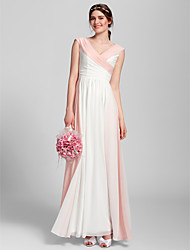 Bridesmaid Dress Floor-length Chiffon Sheath/Column V-neck Dress