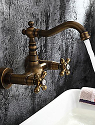 Antique Brass Bathroom Basin Sink Mix Tap Wall Mounted Faucet