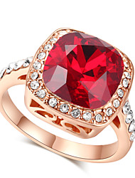 HKTC Royal Design 18k Rose Gold Plated with Rhinestones Surrounded Square Ruby Crystal Ring