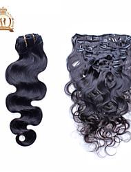 """10 """"-20"""" Peruaanse maagd haar body wave clip in human hair extensions natuurlijke zwarte baby hair"""