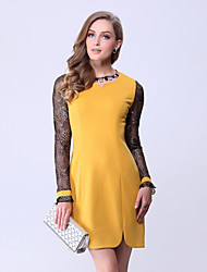 Women's Patchwork/Lace Black/Yellow Dress , Vintage/Sexy/Lace/Party Round Neck Long Sleeve Mesh