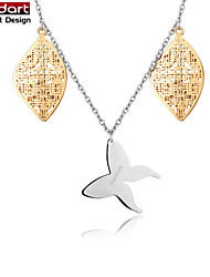 316L Stainless Steel Chain Necklace Hollow Pendant with CZ Stones Inside & Butterfly Pendant for Women