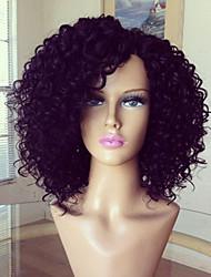 glueless pleine perruque de dentelle 100% brazilian perruque de cheveux humains crépus couleur naturelle 8-16inch cheveux bouclés vierge