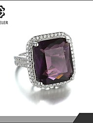 Sjeweler White Gold Classic Purple Gem Diamond Ring