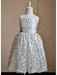 A-line Tea-length Flower Girl Dress - Silk / Sequined Sleeveless Spaghetti Straps / Straps with