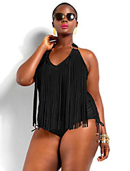 Women's Sexy Fat Push-up Tassels/Solid Straped One-piece Swimwear