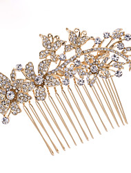 8.6cm Gold Rhinestone Hair Comb Tiara Wedding Bridal Jewelry for Party