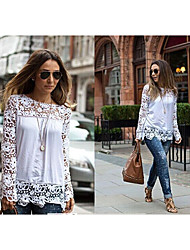 you&meWomen's Casual/Lace/Work Round Long Sleeve T-Shirts (Cotton Blend/Lace/Others)