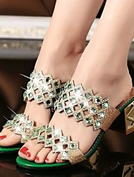 Women's Shoes Glitter Chunky Heel Slingback Color Drill Sandals/Slippers Dress/Casual Blue/Green/Pink