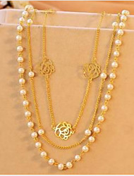 Vintage Alloy/Imitation Pearl Chain