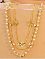 Vintage Alloy/Imitation Pearl Chain