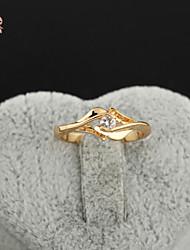 KuNiu Women's High Quality Classic 18K Gold Plated White Zircon Wedding Rings J0323