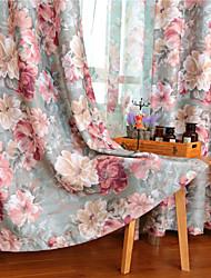 comedor europeo cortina de estilo rural simple apagón impresión de la moda (dos paneles)