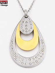 316L Stainless Steel IP Gold Pendant with Clear CZ Stones Set with Steel Chain Necklace for Women
