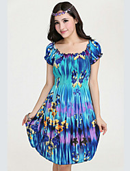 Women's Beach/Print Inelastic Short Sleeve Knee-length Dress (Silk)