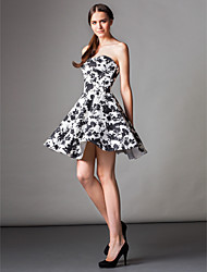 A-Line Strapless Knee Length Satin Cocktail Party Homecoming Prom Dress with Pockets by TS Couture®