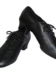 Chaussures de danse (Noir) - Non personnalisable - Talon Large - Similicuir - Moderne