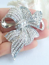 Bridal Accessories Silver-tone Clear Rhinestone Crystal Bridal Brooch Art Deco Crystal Bowknot Brooch Women Jewelry
