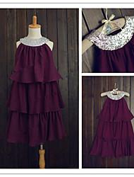 Flower Girl Dress Tea-length Chiffon/Sequined A-line Sleeveless Dress