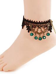 mulheres moda jóia corpo da praia do verão encanto estilo gótico do laço do vintage tornozeleiras de cristal azul