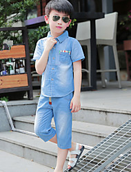 Boy's Summer Solid Color Medium Short Sleeve Set (Denim T-shirt+Pants)
