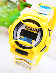 Kids' Circular Dial Small Yellow People Pattern Cartoon Electronic Watch (Assorted Colors) Cool Watches Unique Watches