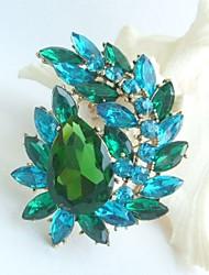 Women Accessories Art Deco Gold-tone Turquoise Green Rhinestone Crystal Brooch Bouquet Flower Brooch Women Jewelry