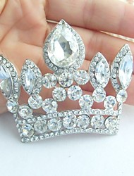 Wedding Accessories Silver-tone Clear Rhinestone Crystal Crown Brooch Art Deco Crystal Brooch Bouquet Women Jewelry