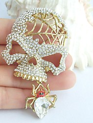 Women Accessories Gold-tone Clear Rhinestone Crystal Spider Skull Skeleton Brooch Art Deco Crystal Skull Brooch