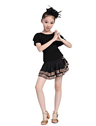 Latin Dance Outfits Children's Performance/Training Polyester Pleated Leopard Print Outfit Black Kids Dance Costumes