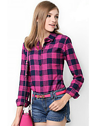 U&Shark New Hot! Women's  British Style 100% Cotton Leisure Flannel Long Sleeve Shirt with Rose Red Black Checks