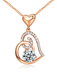 T&C Women's 18k Rose Gold Plated Clear Simulated Diamond Heart to Heart Pendant Necklace