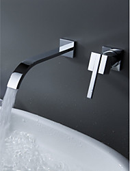 Wall Mount Contemporary Brass Widespread Waterfall Bathroom Sink Faucet Single Handle Bathtub Mixer Taps