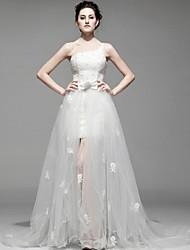 Sheath/Column Floor-length Wedding Dress -One Shoulder Satin