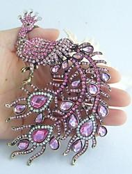 Women Accessories Gold-tone Pink Rhinestone Crystal Peacock Brooch Art Deco Brooch Bouquet Women Jewelry
