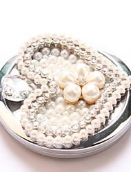 amour de perles miroir de poche de maquillage main portables cosmétiques miroir espelho Espejo de Bolso maquiagem maquillage bling