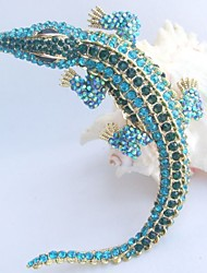 Women Accessories Gold-tone Turquoise Green Rhinestone Crystal Alligator Crocodile Brooch Art Deco Crystal Brooch