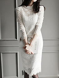 Women's Lace Micro-Elastic Long Sleeve Knee-length Dress (Lace)