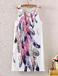 женская без рукавов перо графический принт мини-платье
