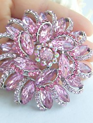 Women Accessories Silver-tone Pink Rhinestone Crystal Flower Brooch Art Deco Bridal Bouquet Women Jewelry