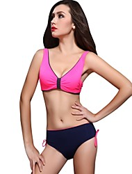 Damen Bikinis  -  Einfarbig Push-Up/Bügel-BH Nylon/Elasthan Halfter