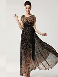 Women's Vintage Beach Print Cute Party Maxi Plus Sizes Micro Elastic Sleeveless Maxi Dress (Chiffon)