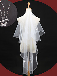 Wedding Veil Two-tier Elbow Veils Beaded Edge