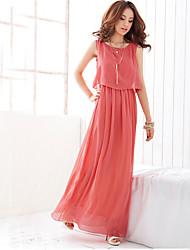 xiw&F Women's Beach/Casual/Maxi/Plus Sizes  Sleeveless Maxi Dress (Chiffon)